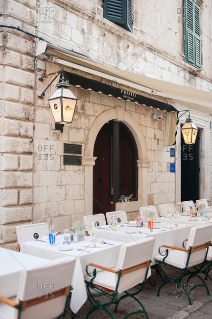 Dubrovnik, Croatia - July 22, 2015: Outdoor dining area at a restaurant in Dubrovnik, Croatia