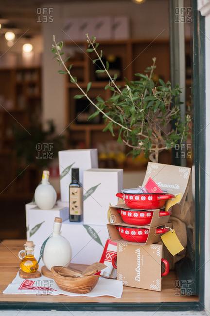 Dubrovnik, Croatia - July 22, 2015: Pots and pans in a store window in Dubrovnik, Croatia