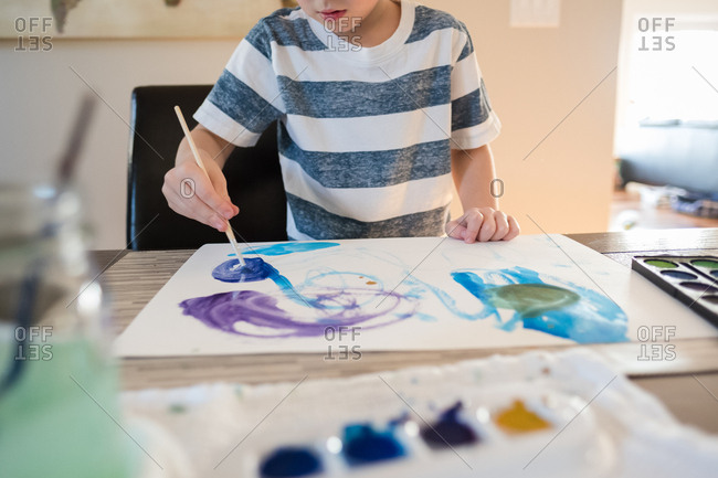 Child painting a watercolor picture