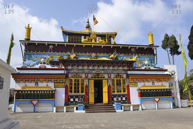 "India, Darjeeling - April 6, 2017: Ghoom Tibetan monastery, dedicated to the ""Maitreya Buddha"" belonging to the Gelug community"