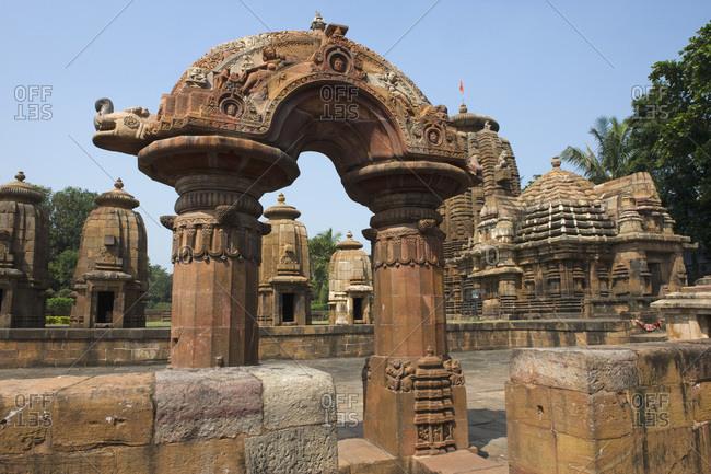 India, Orissa, Bhubaneswar, Mukteswara temple, 10th Century, sculpted portal (Torana)