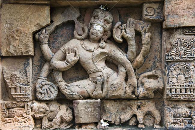 India, Orissa, Bhubaneswar, Parsurameswara temple, 7th Century, detail of a bas-relief representing Shiva