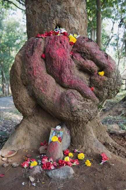 India, Orissa, Koraput district, tree, small altar dedicated to Shiva