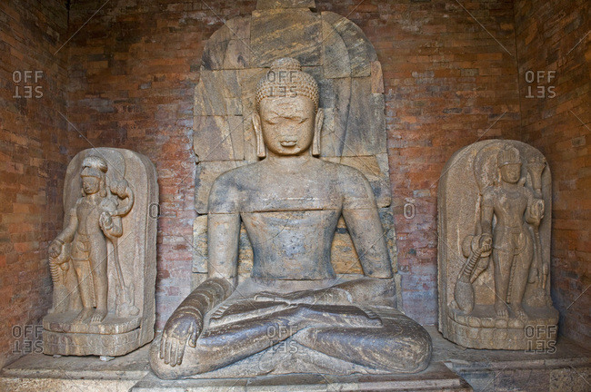 India, Orissa, Jajupur district, Ratnagiri, 1st monastery, statue of Buddha
