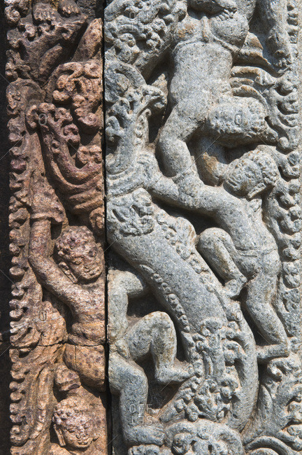 India, Orissa, Jajupur district, Ratnagiri, 1st monastery, detail of the porch