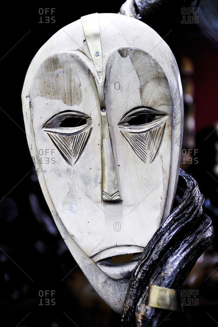 Africa, Gabon - July 19, 2014: Libreville, craft market, ethnical wooden masks