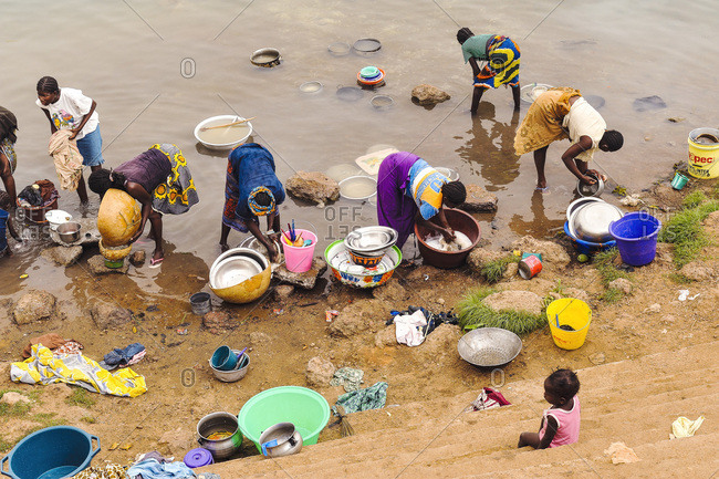 Africa, Mali - July 19, 2014: Dishes along the river Niger.