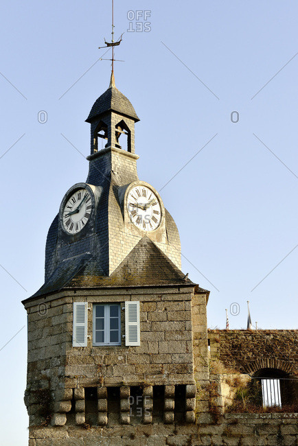 France, North-Western France, Brittany, Concarneau, turret of the walled town's battlements, clock and weather vane