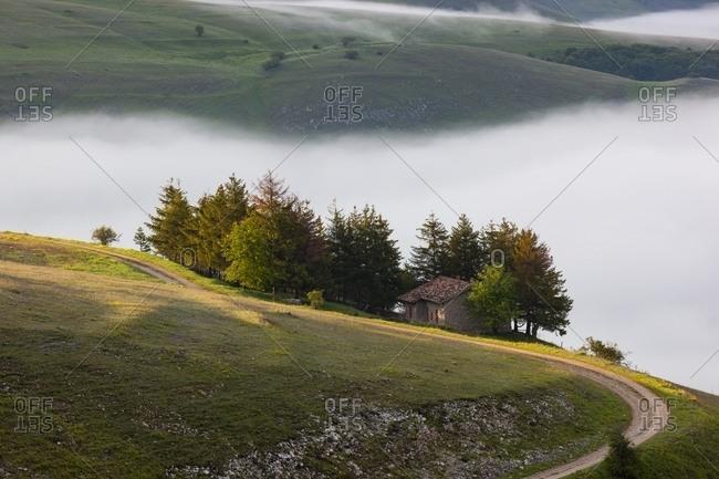 Typical landscape near Castelluccio di Norcia, Umbria, Italy
