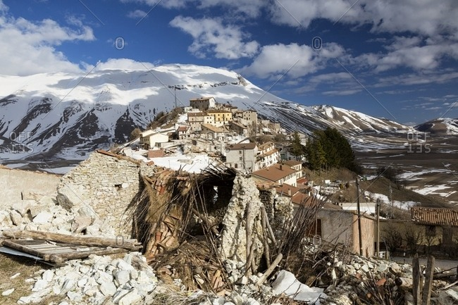 Castelluccio di Norcia, the old village destroyed by the earthquake of 2016, Sibillini national park, Italy