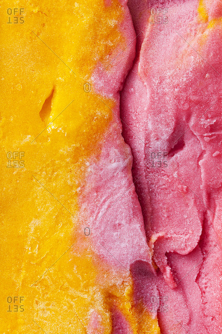 Close up of raspberry and mango sorbet