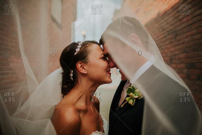 Bridal couple underneath veil