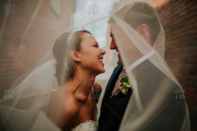 Bridal couple smiling underneath veil