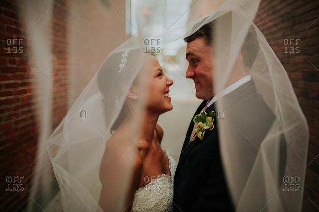 Bridal couple together underneath veil