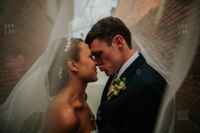 Bridal couple together under a veil