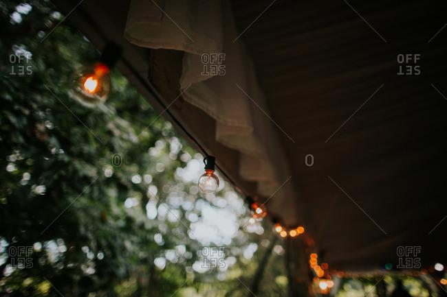 String of lights on wedding reception tent