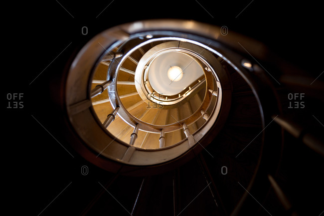 Spiral staircase seen from below
