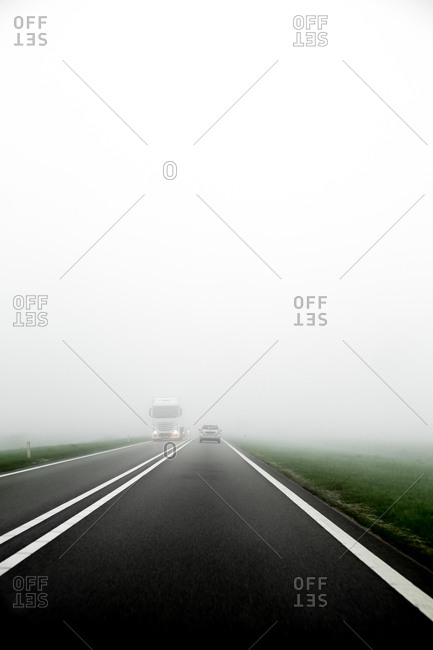 Rural traffic in dense fog