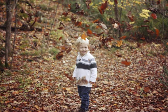 Blonde boy playing in fallen leaves