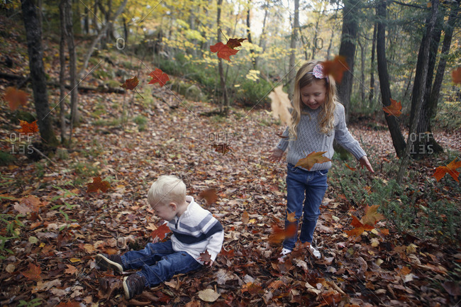Two kids playing in fallen leaves