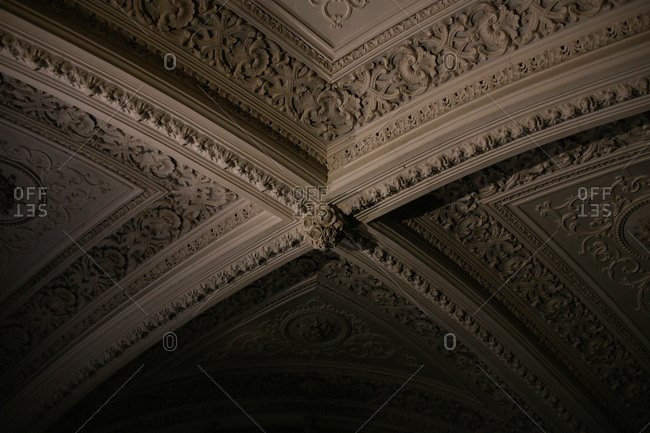 Detail of ceiling in the Pena National Palace in Sintra, Portugal