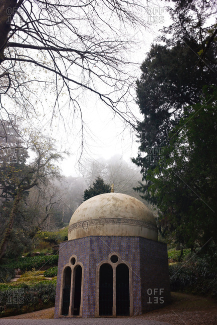 Domed building in park at Pena Palace in Sintra, Portugal