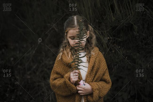 Little girl in a sweater holding a fern branch