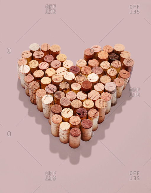 Wine corks arranged in the shape of a heart