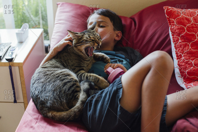 High angle view of boy with cat lying on bed at home