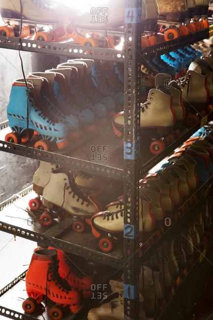 High angle view of roller skates on shelves