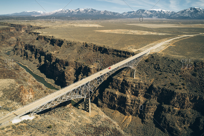 High angle view of Rio Grande Gorge Bridge over river during sunny day