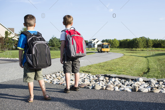 Rear view of schoolboys waiting for school bus on street against sky
