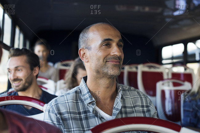 Passengers traveling in tour bus