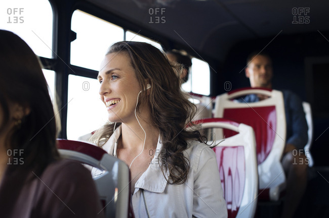 Passengers traveling in bus
