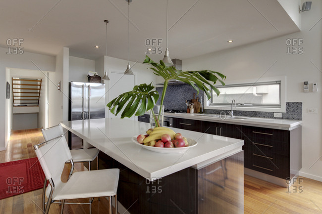 Fruits and plants on kitchen island