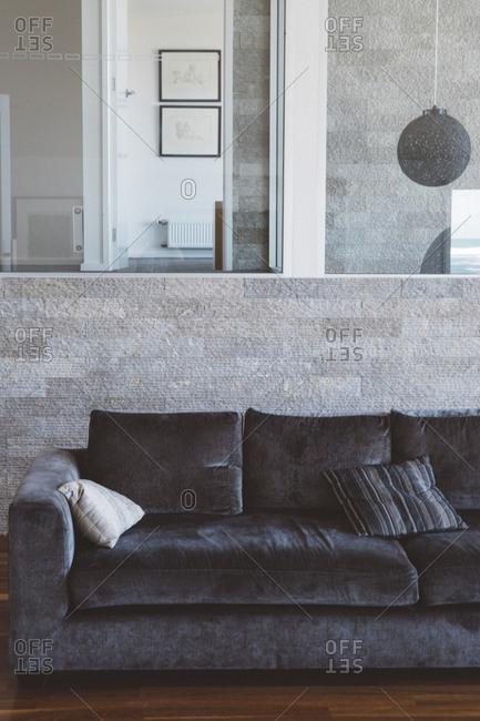 Sofa against wall at home