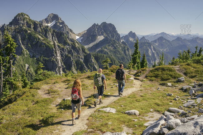 Rear view of friends hiking at North Cascades National Park against clear sky