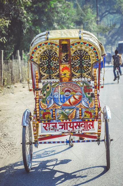 Nepal, Allahabad - January 27, 2012: Colorful padicab on road