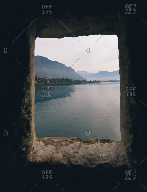 Lake Geneva seen through window of Chillon Castle