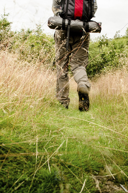 Low section of hiker walking on grassy field