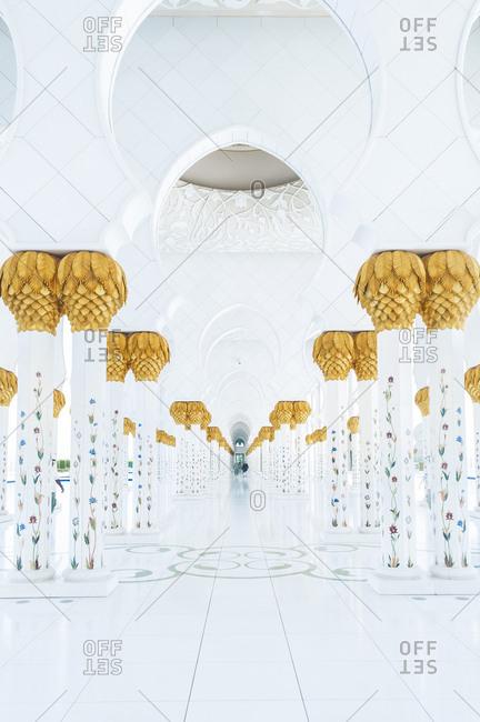 United Arab Emirates, Abu Dhabi - July 3, 2013: Architectural columns at Sheikh Zayed Mosque