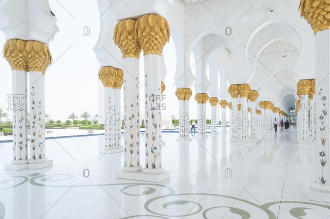 United Arab Emirates, Abu Dhabi - July 3, 2013: Colonnade at Sheikh Zayed Mosque