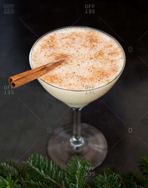Festive cocktail with cinnamon stick and a pine bough
