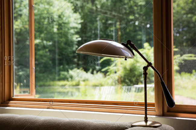 Vintage inspired modern lamp detail in home