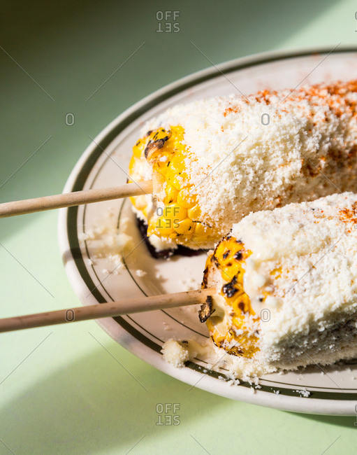 Traditionally prepared elotes, plated