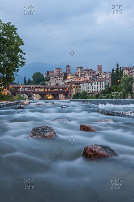 Italy, Veneto, Bassano del Grappa . the famous wood bridge on Brenta river