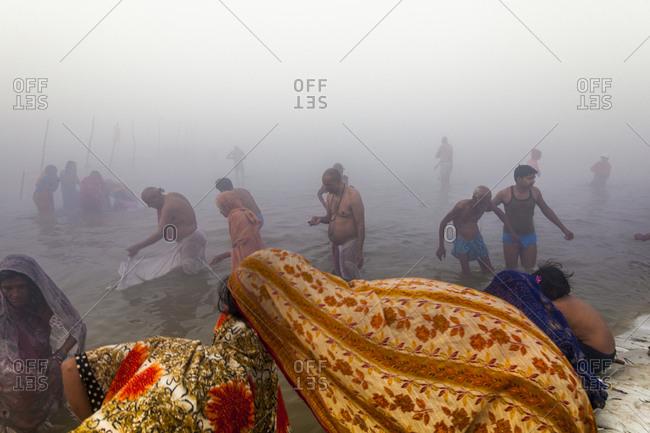 India, Allahlabad - January 28, 2013: India, Uttar Pradesh (United Provinces), Allahlabad . Maha Kumbh Mela