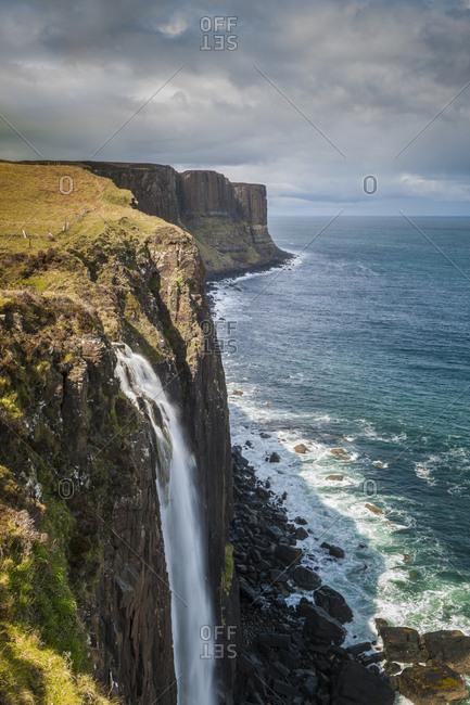 United Kingdom, Scotland, Skye Island . Kilt Rock Waterfall