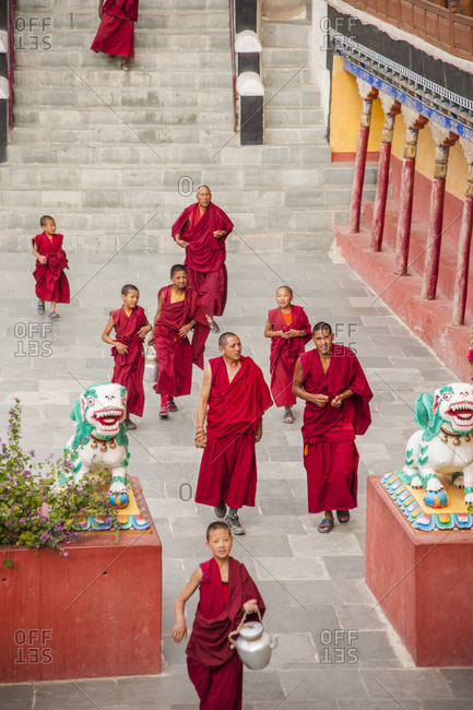 India, Ladakh - August 9, 2014: After the prayer at Thikse Monastery