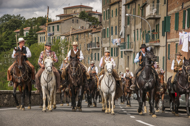 "Italy, Tuscany, Chiusdino - September 15, 2015: Passage of ""Transumando"", an evocation of the ancient tradition of transhumance"